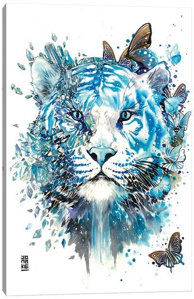 White Ice Tiger Canvas Art Print