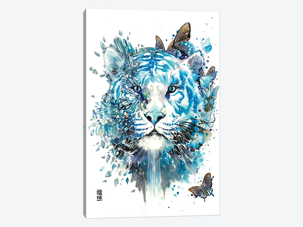 White Ice Tiger by Jongkie 1-piece Canvas Wall Art