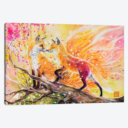 Fox Love Canvas Print #JOK43} by Jongkie Canvas Print