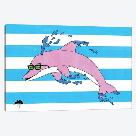Dolphin Pete Canvas Print #JOL16} by MULGA Canvas Wall Art