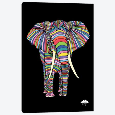 Eden The Enigmatic Elephant, Black Background Canvas Print #JOL17} by MULGA Canvas Artwork
