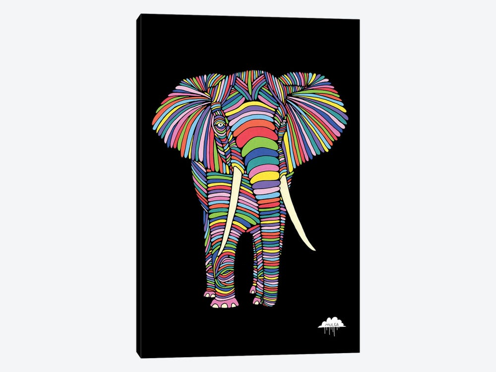 Eden The Enigmatic Elephant, Black Background by MULGA 1-piece Canvas Art