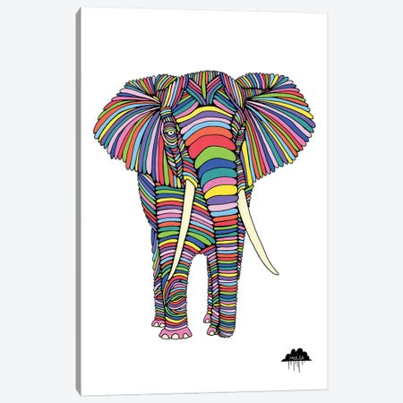 Eden The Enigmatic Elephant, White Background Canvas Print #JOL18} by MULGA Art Print