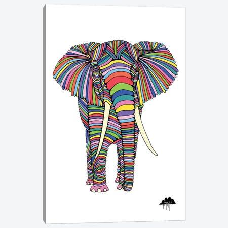 Eden The Enigmatic Elephant, White Background Canvas Print #JOL18} by MULGA Art Print
