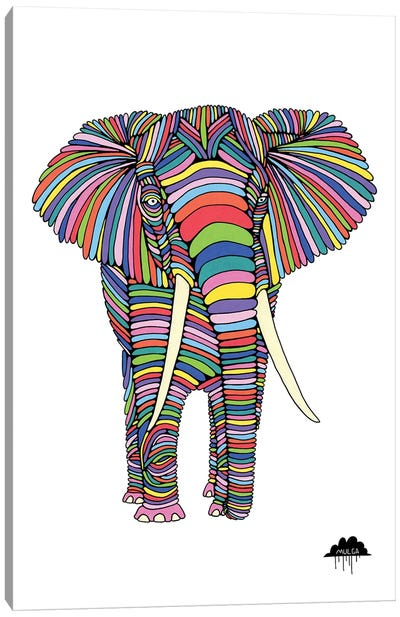 Eden The Enigmatic Elephant, White Background Canvas Art Print