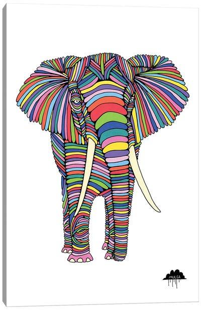 Eden The Enigmatic Elephant, White Background Canvas Art Print