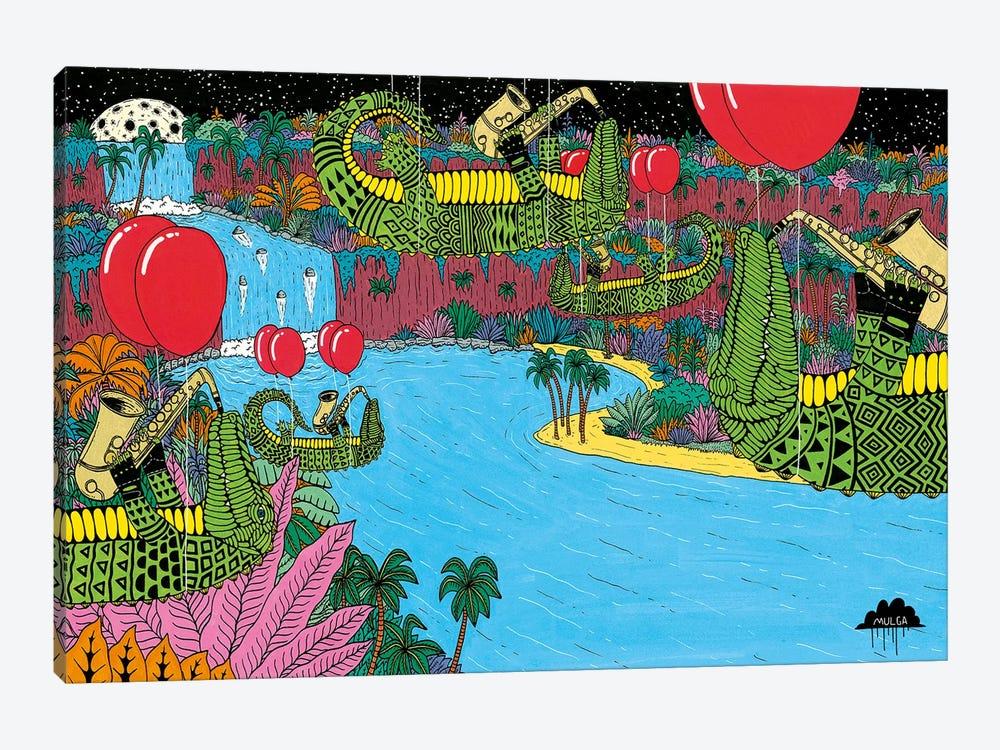 Mulgas Magical Musical Creatures: Crocs by MULGA 1-piece Canvas Wall Art