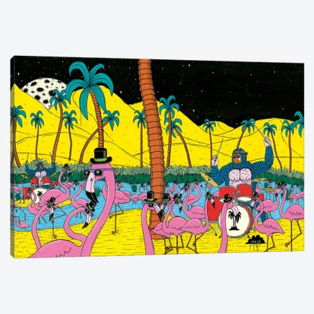Mulgas Magical Musical Creatures: Flamingos Canvas Print #JOL32} by MULGA Canvas Print