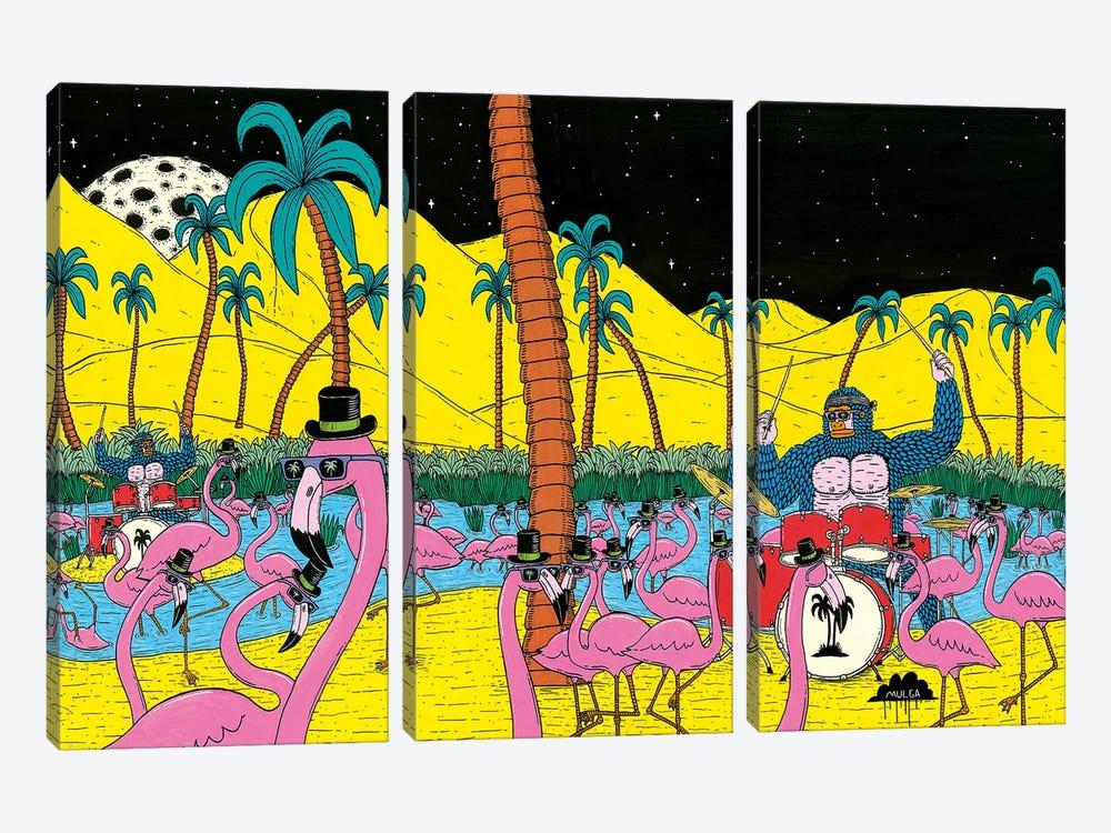 Mulgas Magical Musical Creatures: Flamingos by MULGA 3-piece Art Print