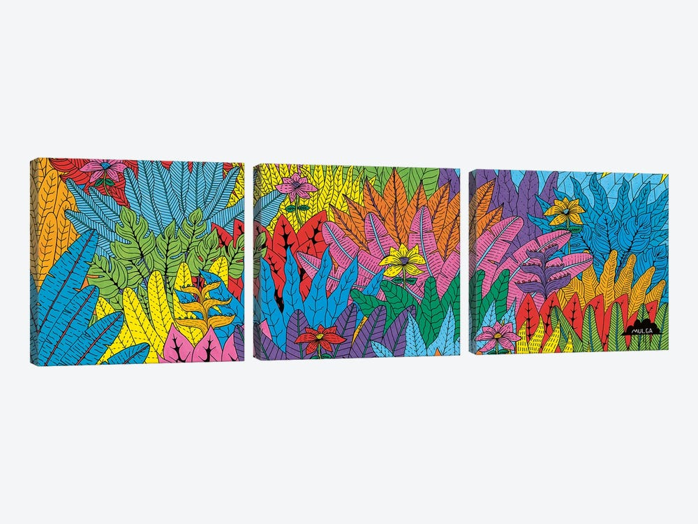 Mulgas Magical Musical Creatures: Leaf Pattern by MULGA 3-piece Canvas Print