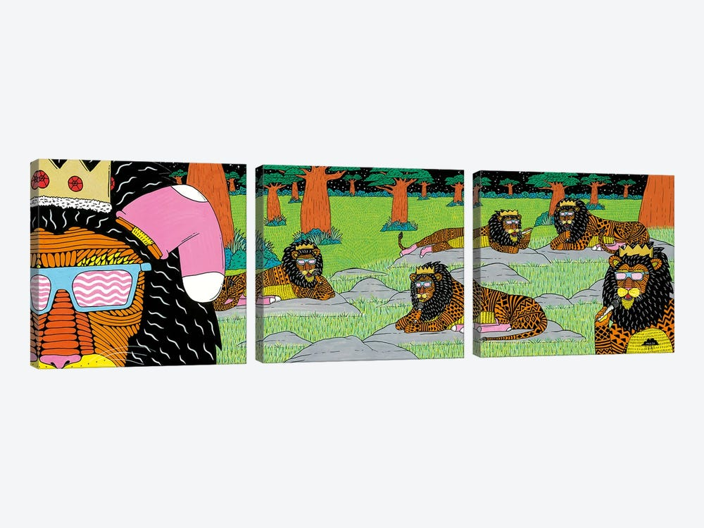 Mulgas Magical Musical Creatures: Lions by MULGA 3-piece Canvas Wall Art