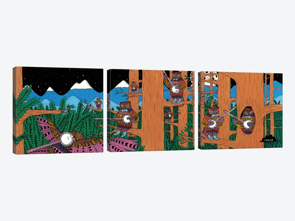 Mulgas Magical Musical Creatures: Owls by MULGA 3-piece Canvas Print