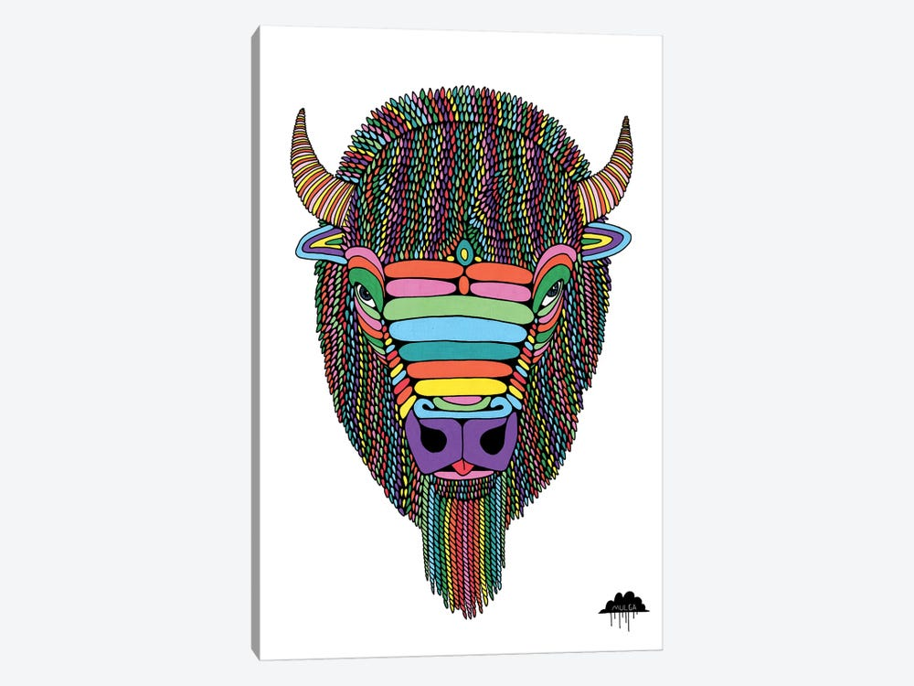 Barry The Bison by MULGA 1-piece Canvas Art Print
