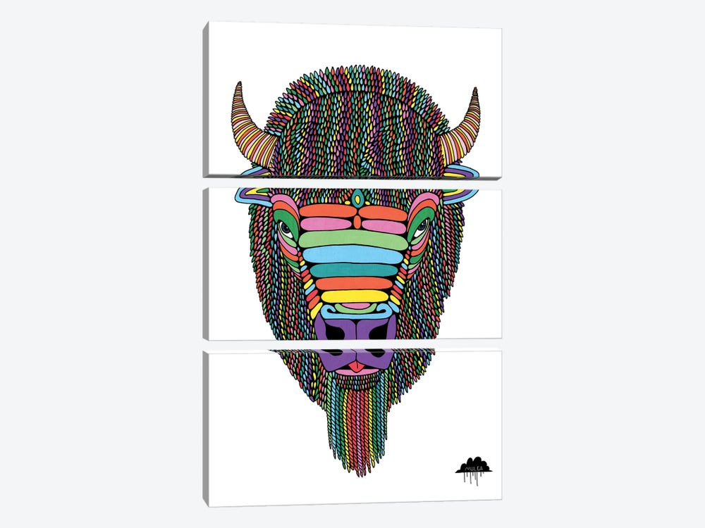Barry The Bison by MULGA 3-piece Art Print