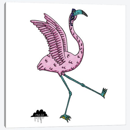 Bronhilda Flamingo Canvas Print #JOL42} by MULGA Canvas Art