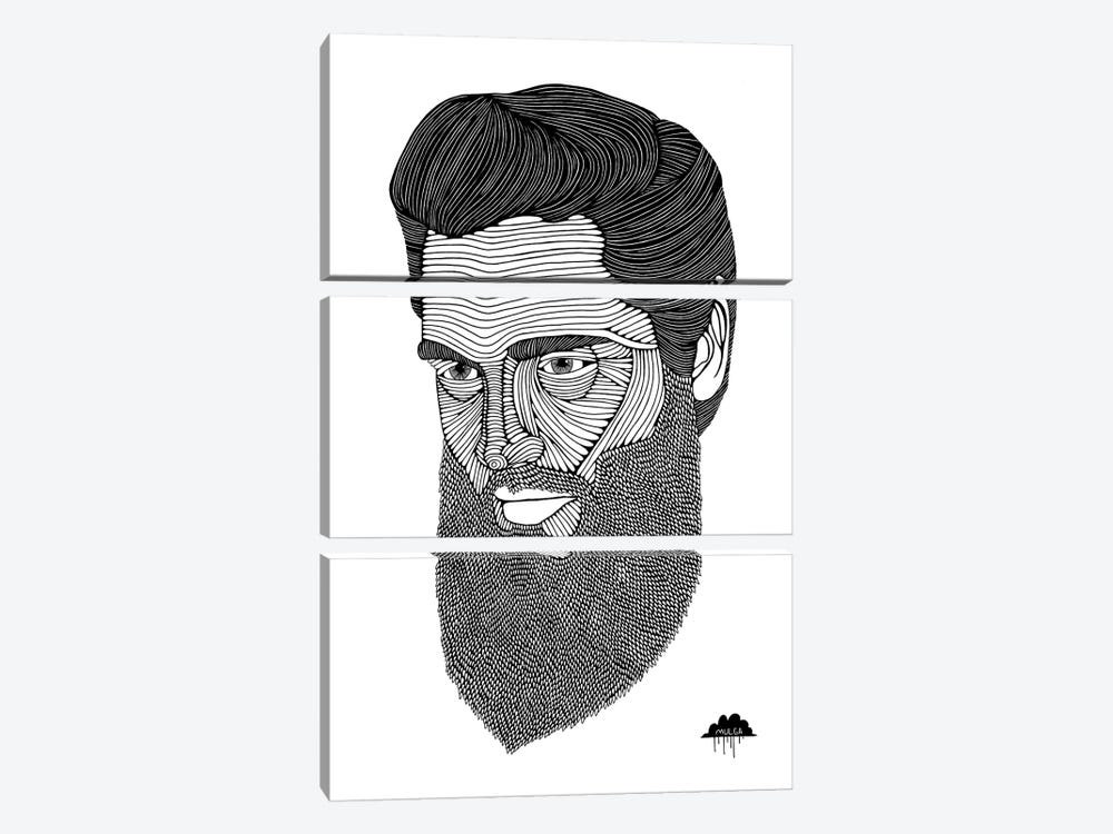 Bearded Elvis by MULGA 3-piece Canvas Art Print