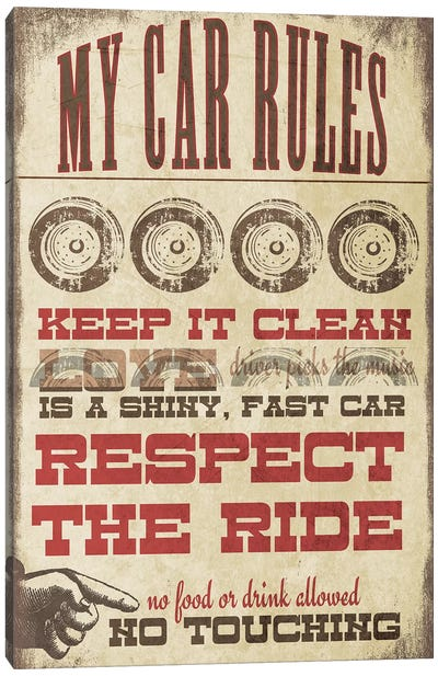My Car Rules Canvas Art Print