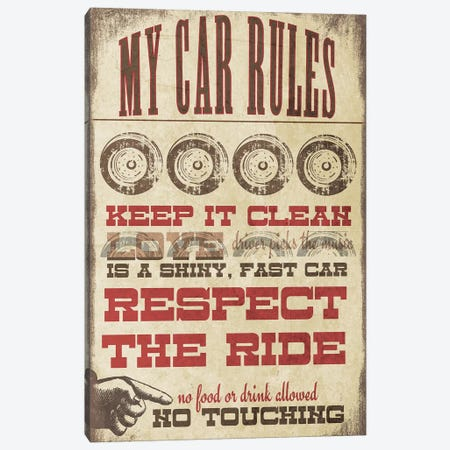 My Car Rules Canvas Print #JOM32} by Jo Moulton Canvas Wall Art