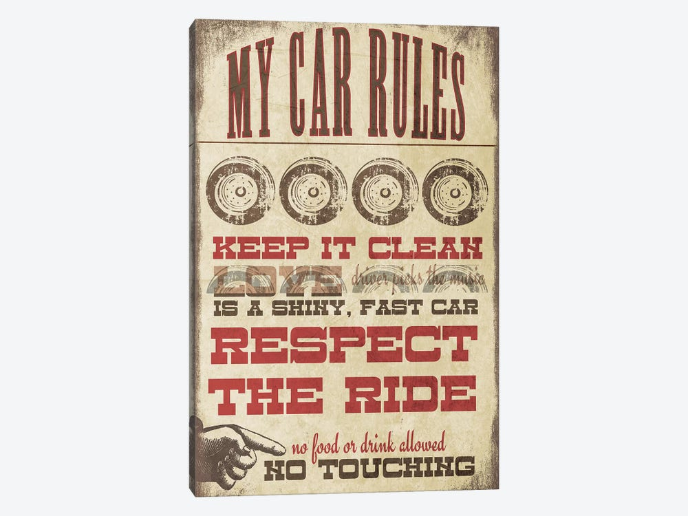 My Car Rules by Jo Moulton 1-piece Canvas Wall Art