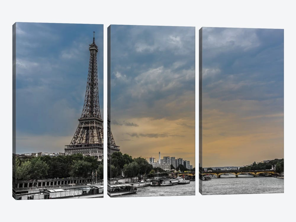 Evening Over Paris by Anders Jorulf 3-piece Canvas Wall Art