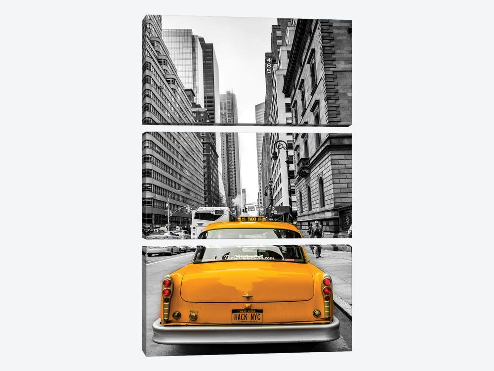 Cab In Nyc by Anders Jorulf 3-piece Canvas Art Print
