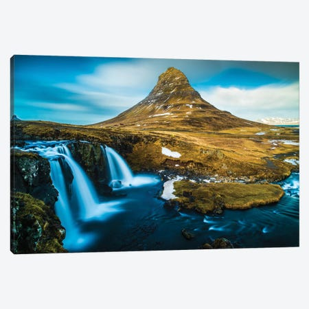 Kirkjufellsfoss Canvas Print #JOR20} by Anders Jorulf Canvas Artwork