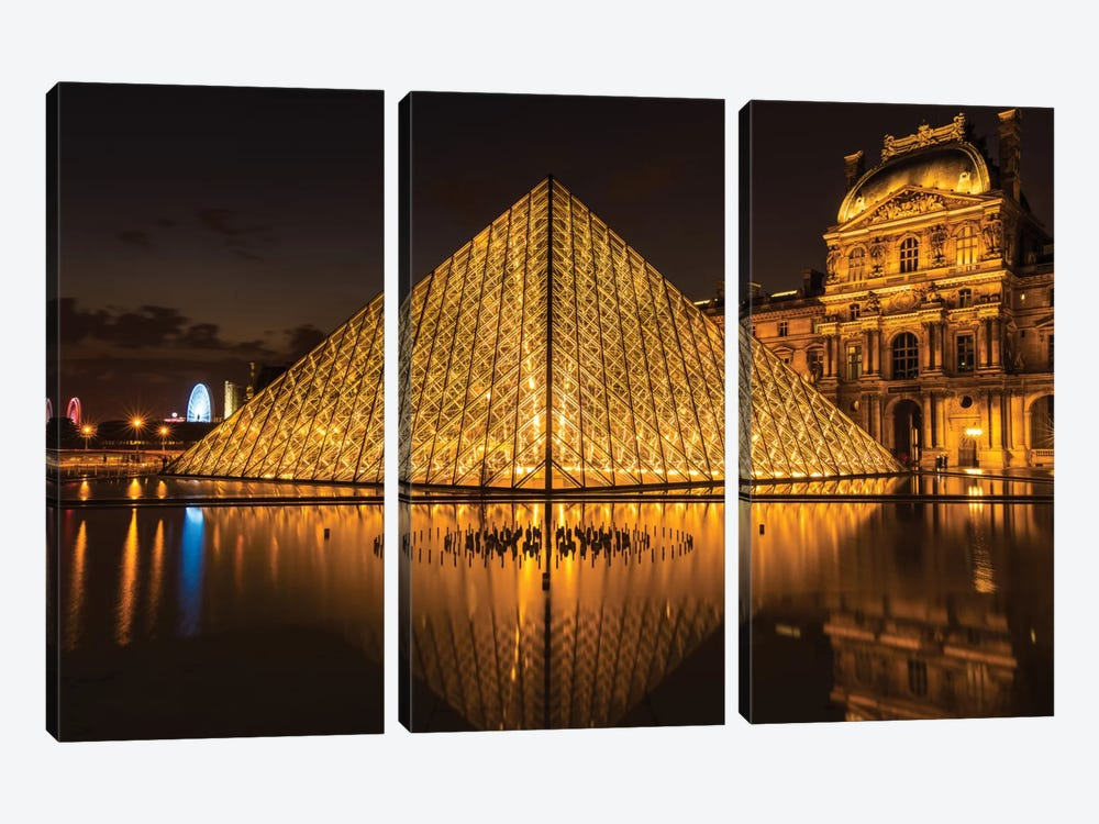 The Louvre, Paris by Anders Jorulf 3-piece Canvas Art