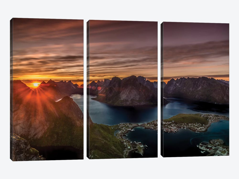 Midnight Sun, Norway by Anders Jorulf 3-piece Canvas Wall Art