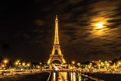 Moonlight Over Paris Canvas Wall Art By Anders Jorulf