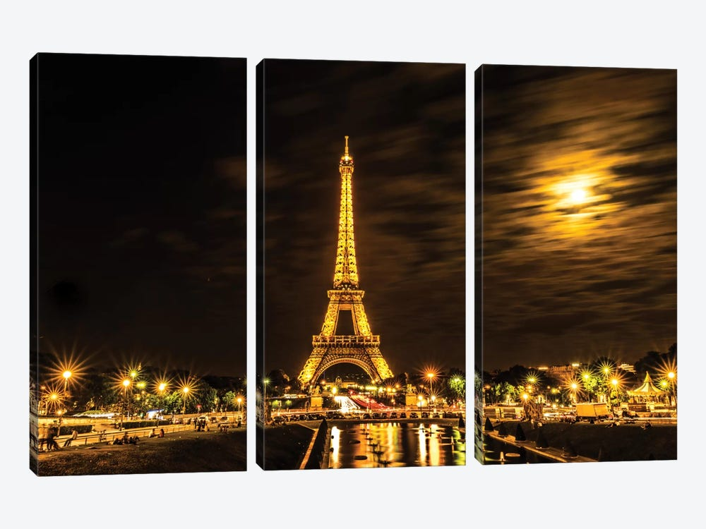 Moonlight Over Paris by Anders Jorulf 3-piece Canvas Print