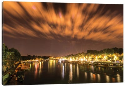 Night Over The Seine Canvas Art Print