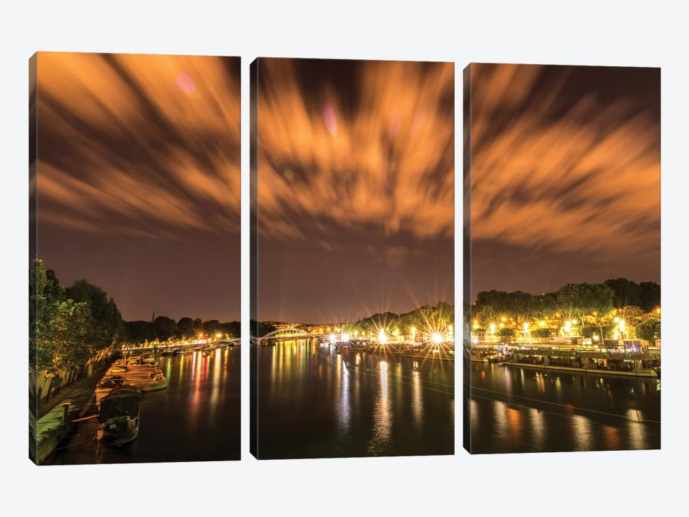 Night Over The Seine by Anders Jorulf 3-piece Canvas Art Print