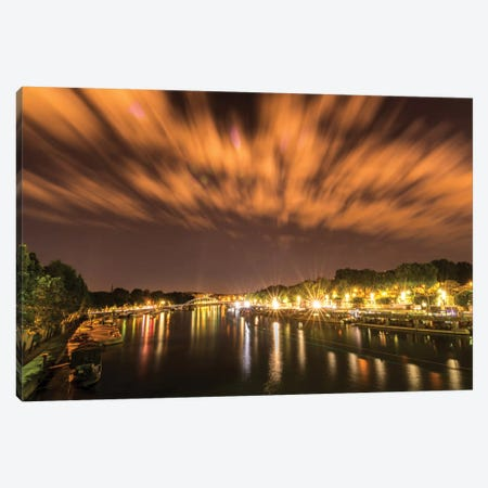 Night Over The Seine Canvas Print #JOR34} by Anders Jorulf Canvas Wall Art