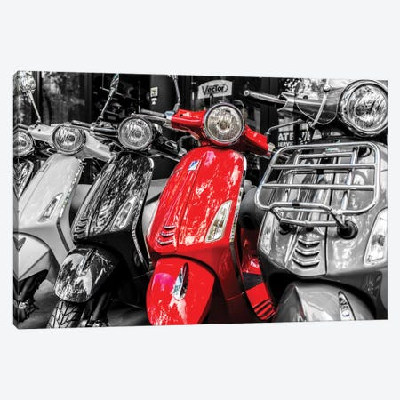 Red Vespa, Paris Canvas Print #JOR40} by Anders Jorulf Canvas Wall Art