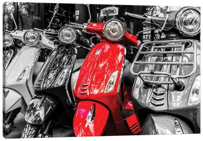 Red Vespa, Paris Canvas Art Print