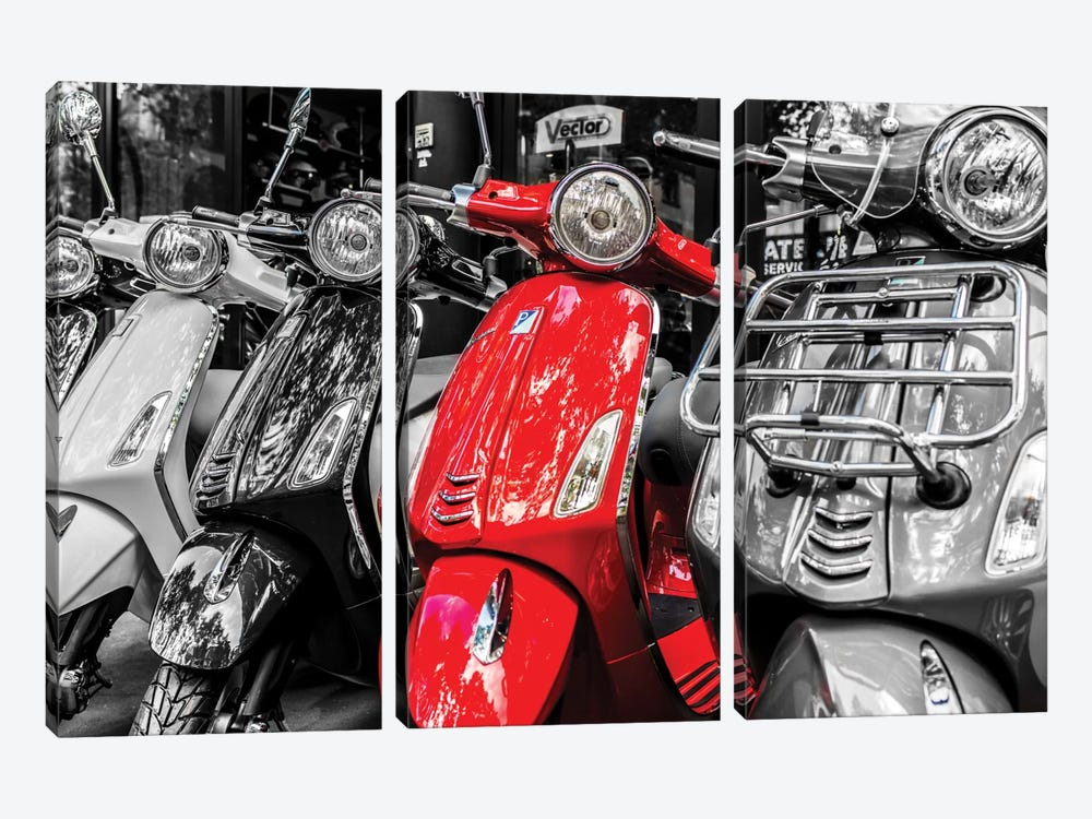Red Vespa, Paris by Anders Jorulf 3-piece Canvas Art