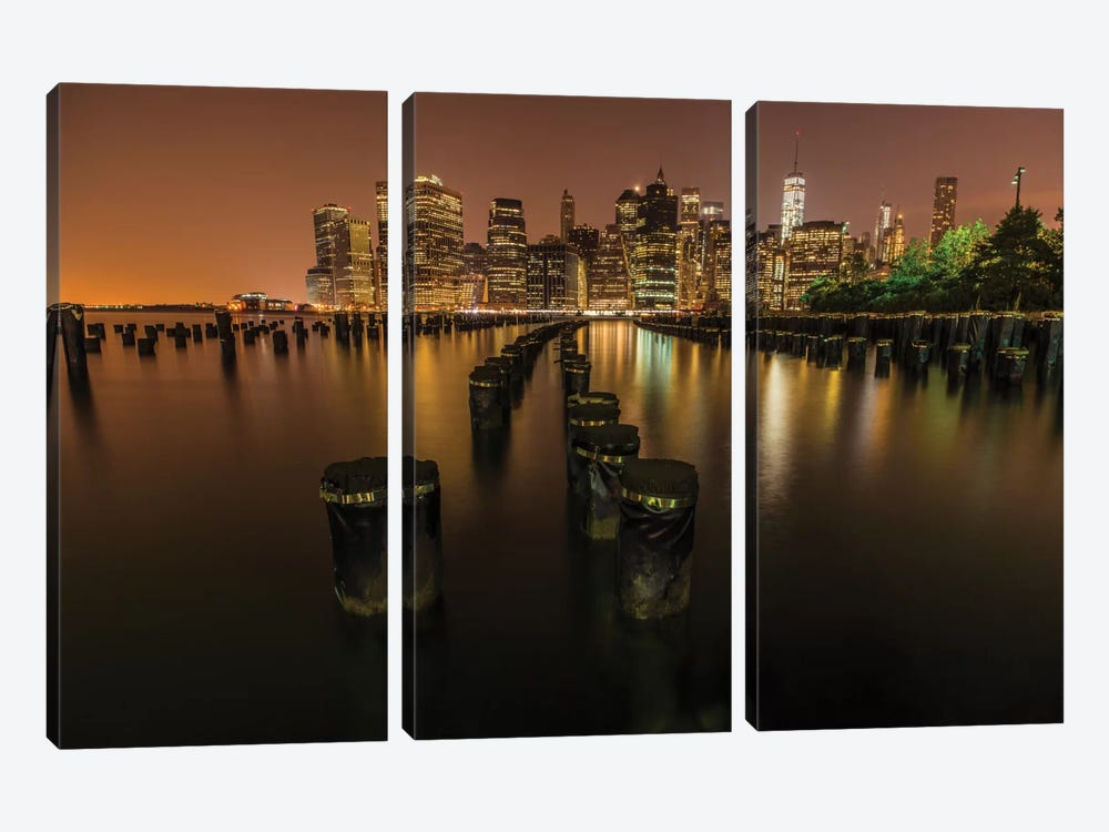 Silent Night In NYC by Anders Jorulf 3-piece Canvas Print