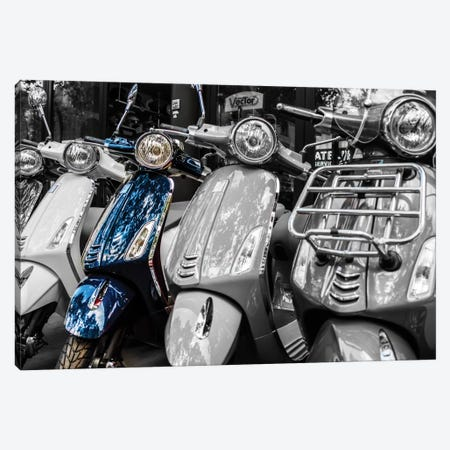 Blue Vespa, Paris Canvas Print #JOR4} by Anders Jorulf Canvas Artwork