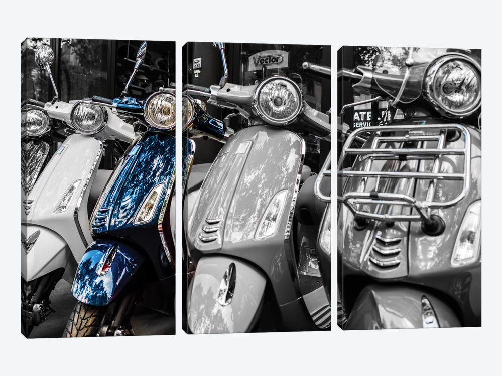 Blue Vespa, Paris by Anders Jorulf 3-piece Canvas Wall Art