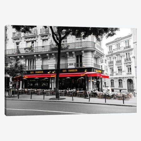 Cafe In Paris Canvas Print #JOR7} by Anders Jorulf Canvas Artwork