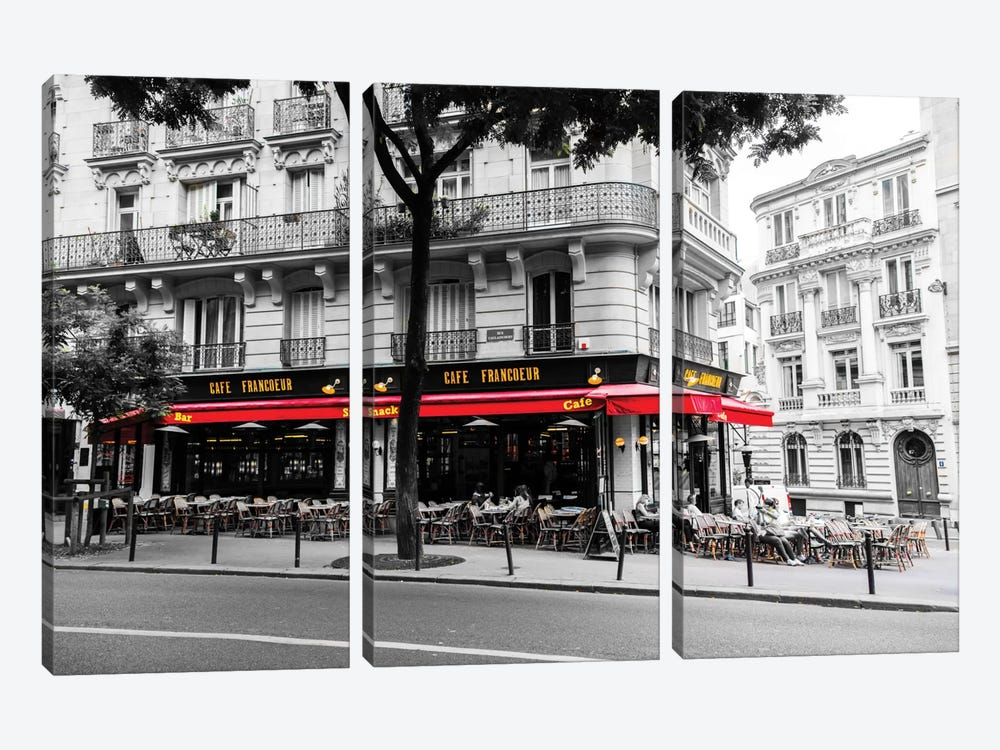 Cafe In Paris by Anders Jorulf 3-piece Canvas Print