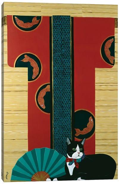 Cat And Kimono Canvas Art Print