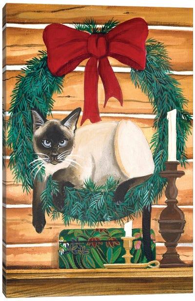Cat In Wreath Canvas Art Print