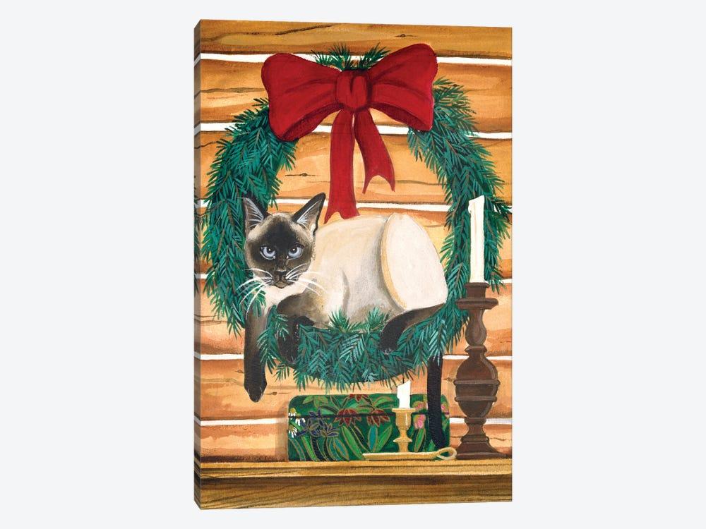 Cat In Wreath by Jan Panico 1-piece Canvas Artwork