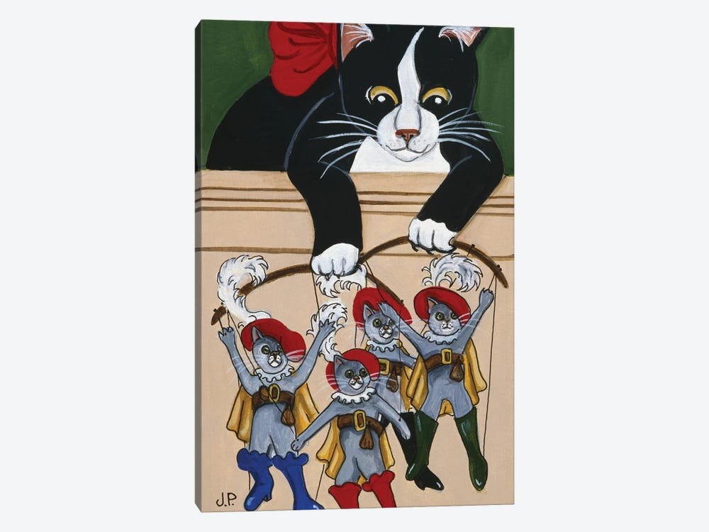 Four  Puss'N Boots by Jan Panico 1-piece Canvas Art