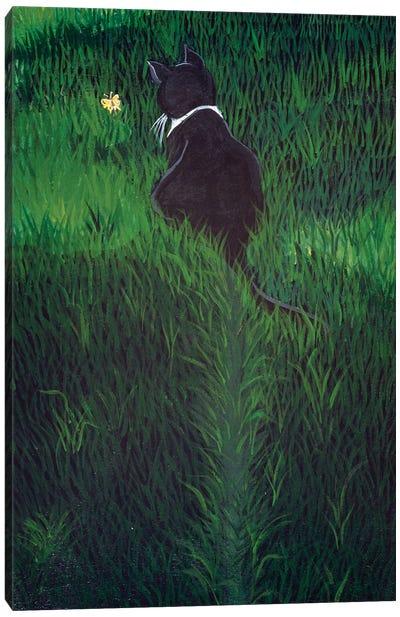 Li'l Lovebug  Chasing A Butterfly Canvas Art Print