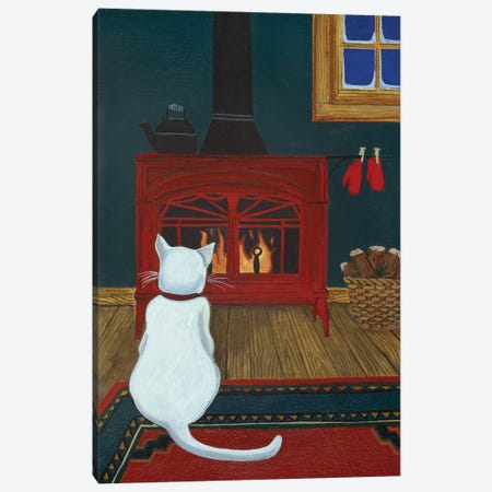 Mittens Warming By The Fire Canvas Print #JPA34} by Jan Panico Canvas Art