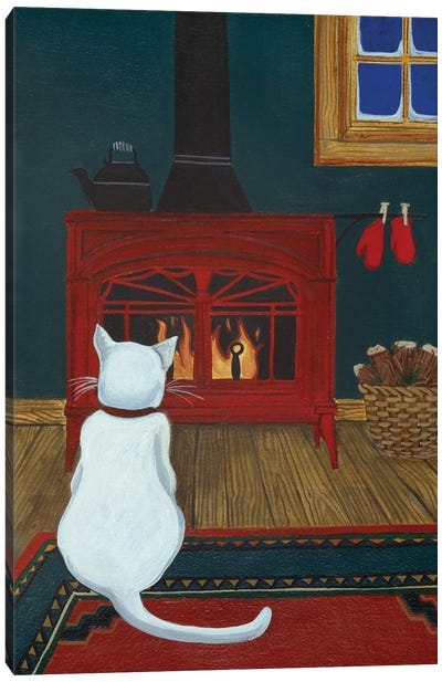 Mittens Warming By The Fire Canvas Art Print