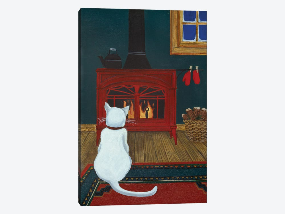 Mittens Warming By The Fire by Jan Panico 1-piece Canvas Art Print