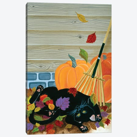Playing In The Leaves Canvas Print #JPA46} by Jan Panico Canvas Print
